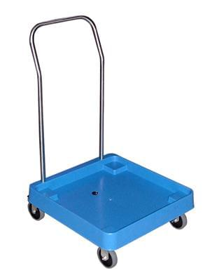 Trolley for dishwasher baskets with handle
